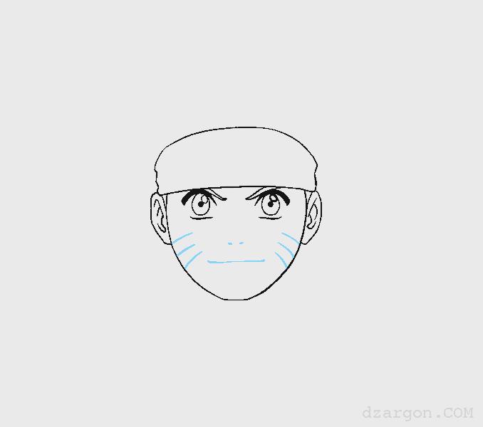 Cara Menggambar Sketsa Wajah Naruto membuat kumis serigala
