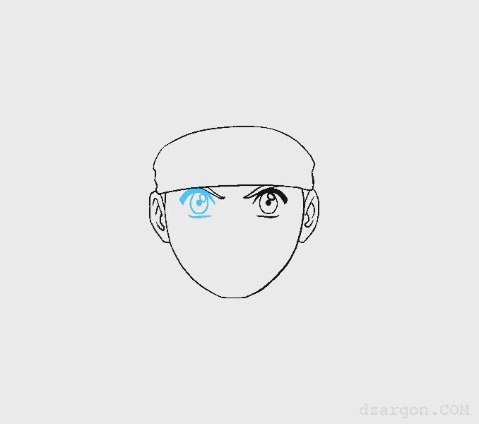 Cara Menggambar Sketsa Wajah Naruto membuat duah mata
