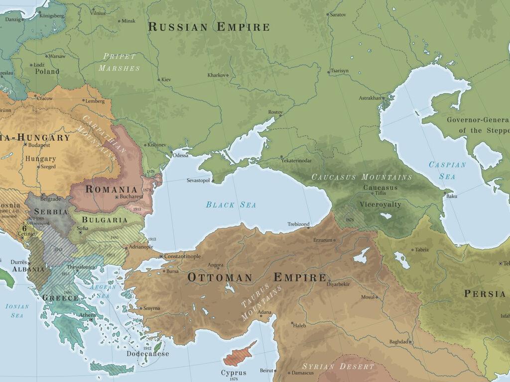 Peta Negara Penguasan di Sekitar Laut Mati daerah Balkan