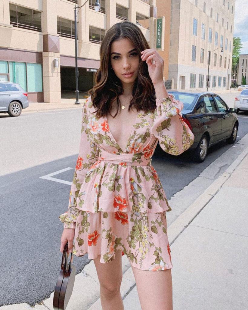 V Neck seksi dan manis Sifon Dress